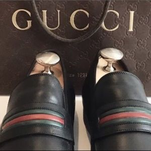 GUCCI Men's Leather Red & Green Stripe Loafers WOW